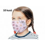 Rouška 3 vrstvá ochranná zdravotní netkaná jednorázová, nízký dýchací odpor pro děti 10 kusů růžová potisk tlapka