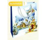 Nekupto Dárková papírová taška 23 x 18 x 10 cm Vánoční zimní krajina Betlém WBM