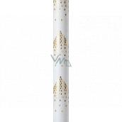 Zöwie Dárkový balicí papír 70 x 150 cm Vánoční Luxusní White Christmas s ražbou bílý zlaté hvězdy ve tvaru stromku