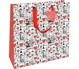 Nekupto Dárková papírová taška 32,5 x 32,5 x 14 cm Kočky a srdíčka 1848 L - LIL