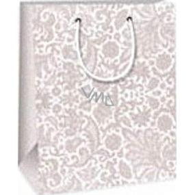 Ditipo Dárková papírová taška 18 x 10 x 22,7 cm šedá krajkový vzor