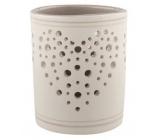 Svícen keramický bílošedý se srdíčkem 9 cm