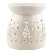 Aromalampa porcelánová bílá se stromečkem 9,9 cm