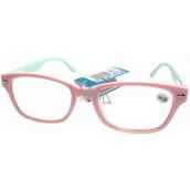 Berkeley Čtecí dioptrické brýle +3,0 světle růžové, světle zelené stranice 1 kus MC2150