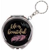 Albi Zrcátko - klíčenka s textem Life is beautiful 6,5 cm