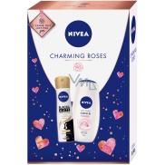 Nivea Charming Roses sprchový gel pro ženy 250 ml + Black & White Silky Smooth antiperspirant sprej pro ženy 150 ml, kosmetická sada
