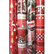 Zöllner Vánoční balicí papír červený bílé a zlaté stromky a jelen 2 m x 70 cm