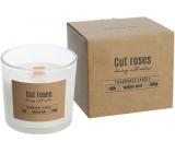Bispol Cut Roses - Řezané růže vonná svíčka s dřevěným knotem sklo 300 g