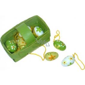 Vajíčka dřevěná v košíku 12 kusů