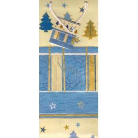 Alvarak Dárková papírová taška na láhev 36 x 13 x 9 cm modrobéžová 1 kus