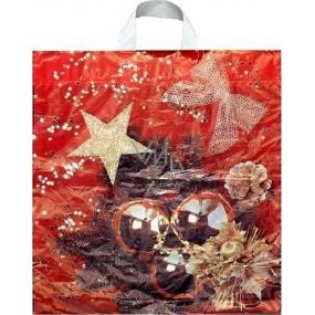 Press Igelitová taška s uchem Baňky červeno-zlatá 50 x 44 cm