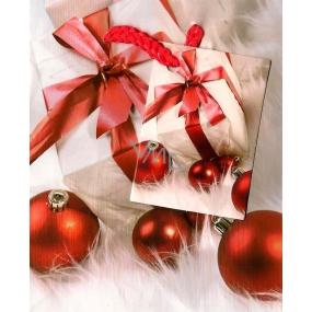 Nekupto Dárková papírová taška malá 659 02 WBS červeno bílá Baňky 14 x 11 x 6,5 cm