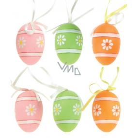 Vajíčka plastová na zavěšení oranžová, zelená, růžová 6 cm v sáčku 6 kusů
