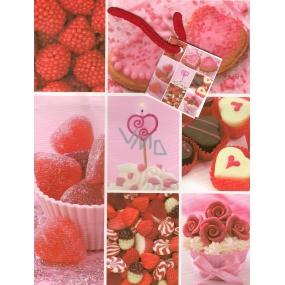 Nekupto Dárková papírová taška střední 23 x 18 x 10 cm Růžová se srdíčky 1121 30 KFM