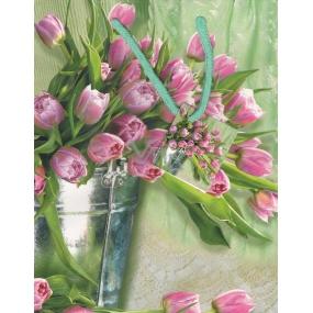 Nekupto Dárková papírová taška střední 23 x 18 x 10 cm růžové tulipány 1 kus 1123 50 KFM