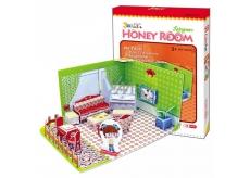 CubicFun Puzzle 3D Honey Room Pokojíček Obývák 49 dílků pro děti 22 x 11,5 x 17,5 cm