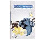 Bispol Aura Vanilla Blueberry - Vanilka a borůvky vonné čajové svíčky 6 kusů