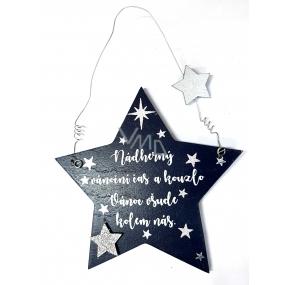 Nekupto Vánoční dřevěná dekorace hvězda Nádherný vánoční čas... 14 x 14 cm