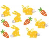 Zajíci a mrkve s lepíkem 4 cm, 10 kusů v sáčku