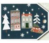Nekupto Vánoční kartičky na dárky domy 5,5 x 7,5 cm 6 kusů