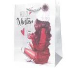 Epee Dárková papírová taška 18 x 22,5 x 9,7 cm Vánoční Stříbrná, Hello Winter 001 LUX střední
