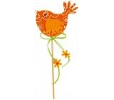 Ptáček z filcu oranžový-bílý dekor zápich 7 cm + špejle