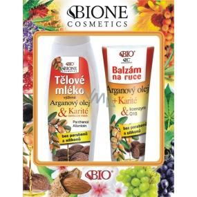 Bione Cosmetics Bio Arganový olej & Karité výživné tělové mléko 500 ml + balzám ruce 205 ml, kosmetická sada