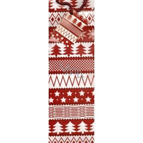 Nekupto Dárková papírová taška na láhev 722 30 WLH Červená, strom, vločka, hvězda 33 x 10 x 9 cm