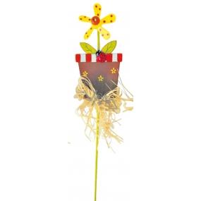 Zápich květináč se žlutým větrníkem 9 cm + špejle