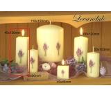 Lima Květina Levandule vonná svíčka slonová kost s obtiskem levandule hranol 45 x 120 mm 1 kus