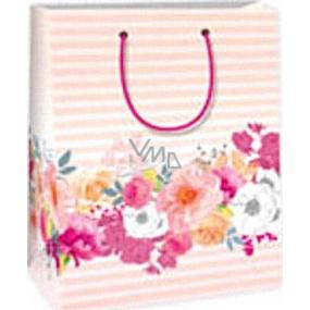 Ditipo Dárková papírová taška 18 x 10 x 22,7 cm růžová pruhy květy