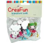 CreaFun Dřevěné knoflíky Dívka mix barev 2,7 x 3 cm 20 kusů