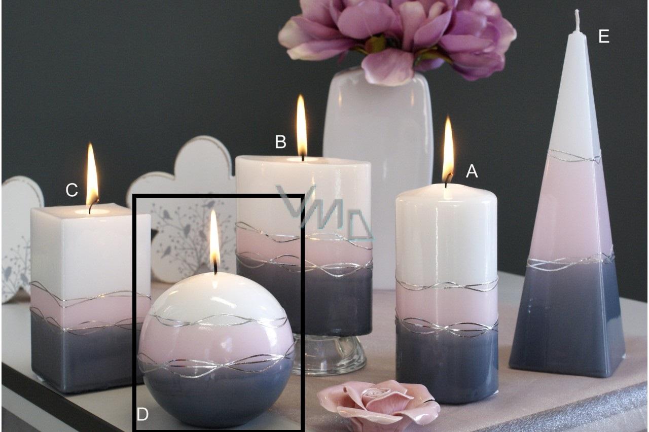 Lima Verona svíčka šedá koule 100 mm 1 kus