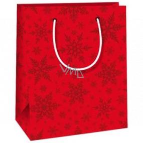 Ditipo Dárková papírová taška 11,5 x 6,5 x 14,5 cm červená vločky E