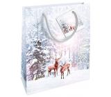 Nekupto Geschenk Papiertüte 23 x 18 x 10 cm Weihnachtsweiß mit Hirschen WBM 1928 02