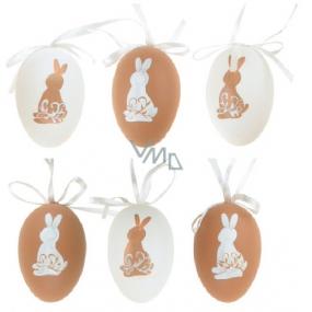 Vajíčka plastová na zavěšení béžovo-bílá 6 cm v sáčku 6 kusů