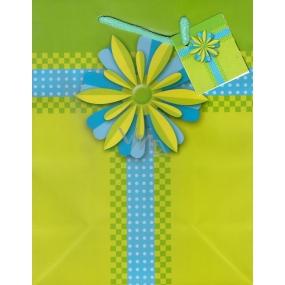 Nekupto Dárková papírová taška střední 23 x 18 x 10 cm zelená s květinou 1006 50 KAM
