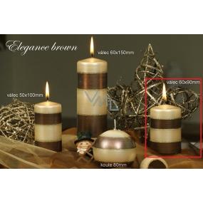 Lima Elegance Brown svíčka béžová válec 60 x 90 mm 1 kus