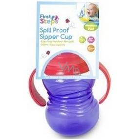 First Steps Sipper Cup 12+ láhev dětská fialová se sosákem a dvěma uchy 300 ml