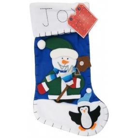 Mikuláš / Santa, vánoční punčocha Noel - modrá 45 x 26 cm