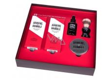 Hawkins & Brimble vyživující olej na vousy a knír 50 ml + krém na holení 100 ml + balzám po holení 125 ml + pleťový peeling 125 ml + štětku na holení pro muže kosmetická sada