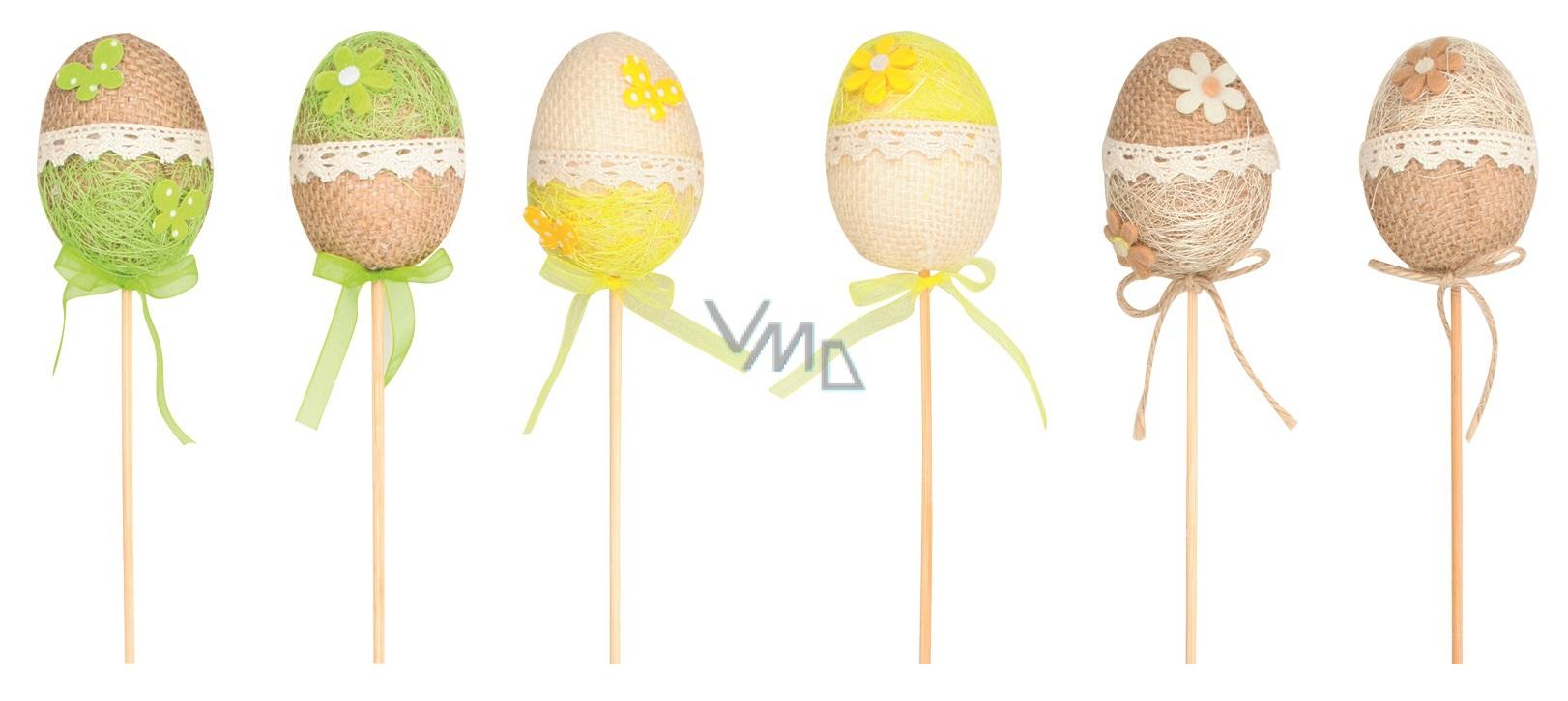 Vajíčko z juty zápich 6 cm + špejle 1 kus