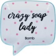 Bomb Cosmetics Crazy Soap Lady Soap Dish Keramická miska na mýdlo 12,5 x 12,5 cm