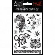 Arch Tetovací obtisky Černé Hlava koně 9,5 x 14 cm
