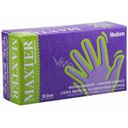 Maxter Rukavice hygienické jednorázové latexové hypoalergenní pudrované, velikost M, box 100 kusů