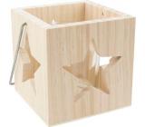 Svícen dřevěný s vyřezanou hvězdou 10 cm