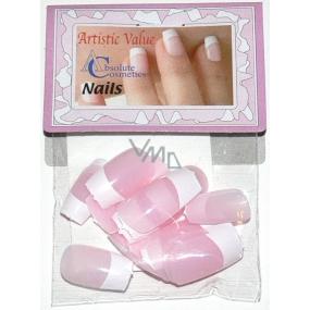 Absolute Cosmetics Nails umělé nehty francouzská manikúra 21000 růžové 20 kusů