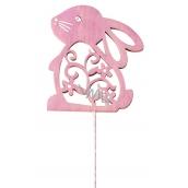 Zajíc dževěný 8 cm růžový + drátek