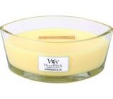 WoodWick Lemongrass & Lily - Citrónová tráva a lilie vonná svíčka s dřevěným širokým knotem a víčkem loď 453 g