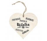 Bohemia Gifts Dřevěné dekorační srdce s potiskem - učitelka podporuje 12 cm